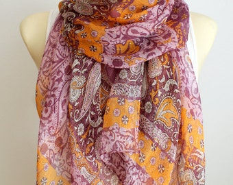Purple Silk Scarf Flower Silk Scarf Silk Chiffon Scarf Summer Gift Women Personalized Gift for women Womens Accessories