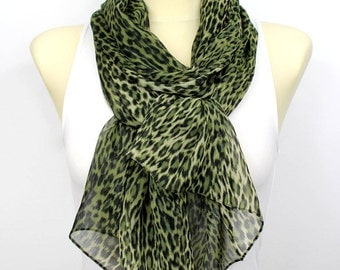 Spring scarf Gift ideas for her Green scarf Leopard scarf Summer scarf Womens scarves Womens fashion scarves womens Gift for Women Christmas