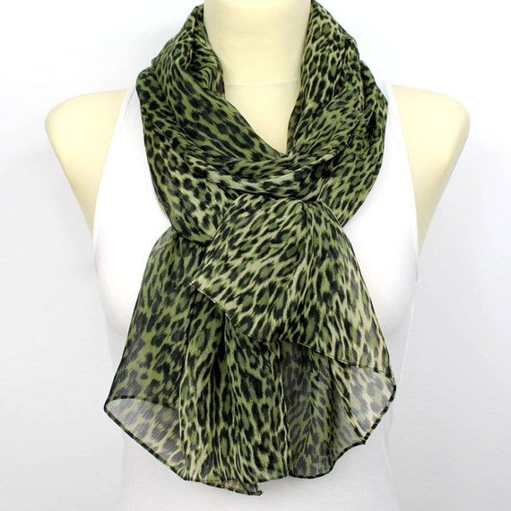 Spring scarf Gift ideas for her Green scarf Leopard scarf Summer scarf Womens scarves Womens fashion scarves womens Accessories mothers day