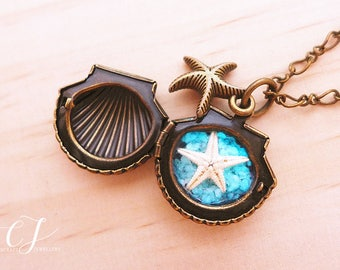 Sea Shell Locket Necklace, Glow In The Dark Jewelry, Real Starfish Necklace, Seashell Locket Jewelry, Mermaid Necklace, Sea Star Necklace
