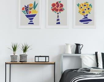 Flowers Prints, Set Of 3 Prints, Floral Art, Botanical Poster, Rose Illustration, Sunflower Print, Nature Graphic, Wife Gift, Gardner Gift