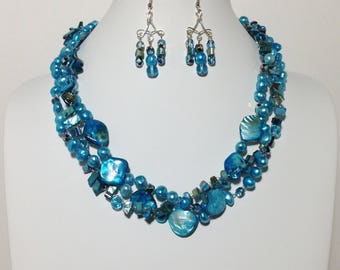 Aqua Blue Shell and Cultured Freshwater Pearl, Glass, Non-Tarnish Silver Plated Wire, Wire Crochet, Necklace, Earrings