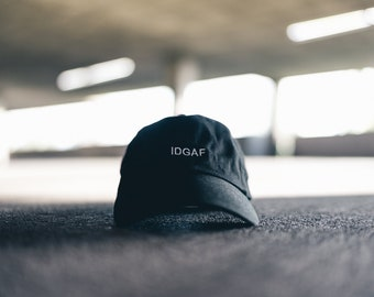 Black IDGAF Dad Cap Low Profile Hat Snapchat **Free Domestic Shipping**