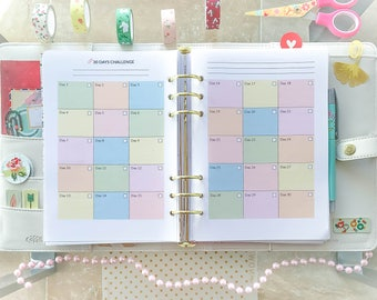 A5 Planner Refill Habit Tracker Printable 30 Days Challenge Habit Tracker A5 Filofax Inserts Fitness Printable Self Care Planner