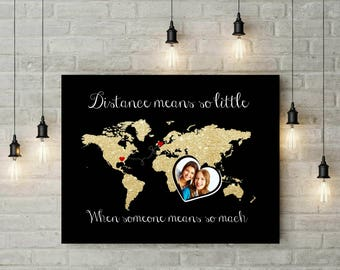 Best Friends World Map | Moving Away Gift | Graduation Gift Moving | Long Distance Friend Gift - 56977