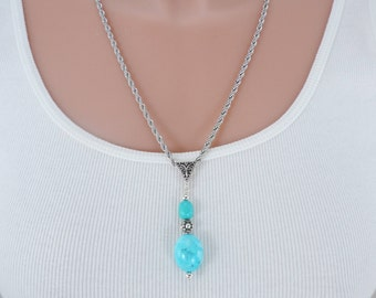 "Genuine Turquoise Pendant Necklace, Kingman Turquoise, Robin's Egg Blue, Turquoise Necklace, 24""  White Gold Bonded Chain"