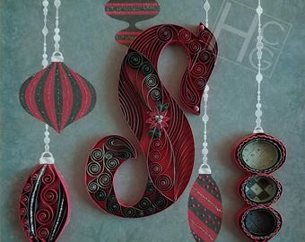 Christmas Monogram: Custom, Quilling, Art, Home Decor, Gift