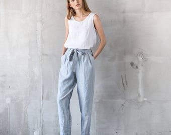 Loose pleated - front BOYFRIEND linen pants / Slightly tapered high waist washed linen pants