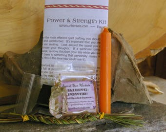 Power and Strength Spell Kit, Full instructions, polished Tibet Crystal Pendant, Sterling Silver wire wrap, Power incense, Sweetgrass Braid