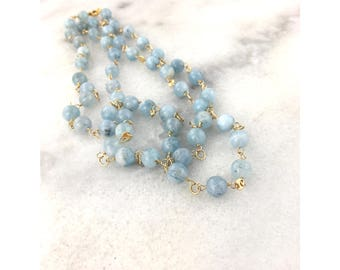 Aquamarine Blue Smooth AAA Genuine Natural Rounds 14k Gold Filled Wire Wrapped Statement Necklace March Birthstone
