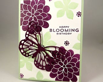 PURPLE BUTTERFLY BLOOMING Birthday Hand Stamped Greeting Card