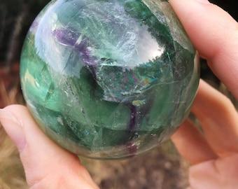 Rainbow Fluorite sphere : crystal ball