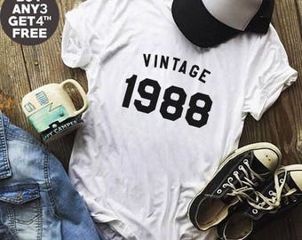 Vintage Shirt 30st Birthday Gifts 1988 Shirt Trendy Fashion Birthday Shirt Gifts Ladies Tshirt Birthday Gifts Men Tshirt Women Shirt Ladies