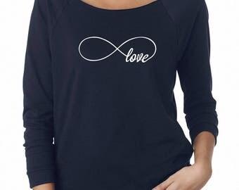 Infinity Love Shirt Infinity Top Women Funny Gifts Lady Tshirt Ladies Graphic Shirt Women Tshirt Off Shoulder Women Sweatshirt Women Top