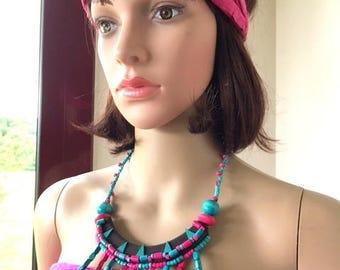 Necklace Bohemian Gypsy fun fuchsia turquoise wood beads romantic
