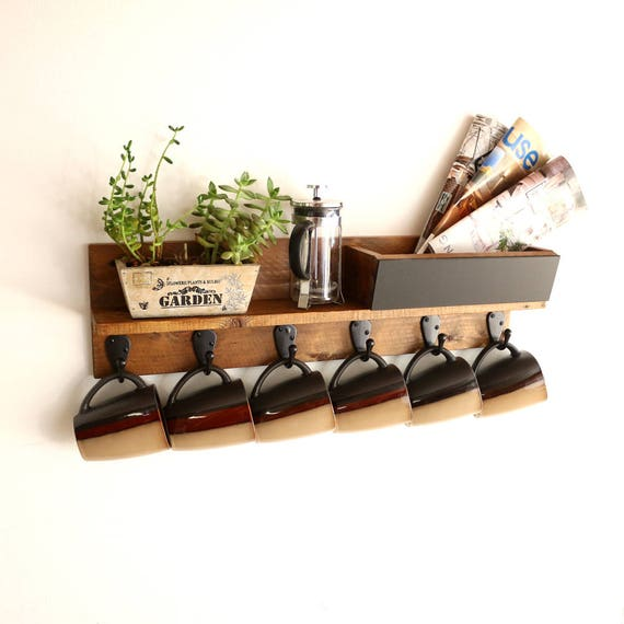 Rustic coffee cup rack coffee mug rack shelf wooden mug for Coffee mug display rack