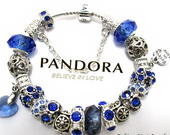Choose Authentic Pandora Bracelet, Sterling Silver,OR, European Bracelet, Silver Plated, Both with Non Branded Charms, BL90.2