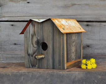 Outdoor Birdhouse Upcycled Reclaimed Wood Bird House Wooden Birdhouses Unique Birdhouses Rustic Birdhouse Decorative Birdhouses Cedar