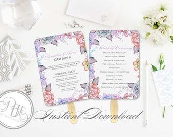 Lilac Purple White Mint Wedding Program Fan Template -Instant DOWNLOAD - EDITABLE TEXT pdf Only -Lilac Purple Mint Succulents-Alice in white