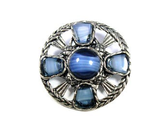 Vintage Scottish thistle brooch, round thistle pin, blue stone pin, Scotland, blue thistle brooch, highland, outlander, Celtic pin