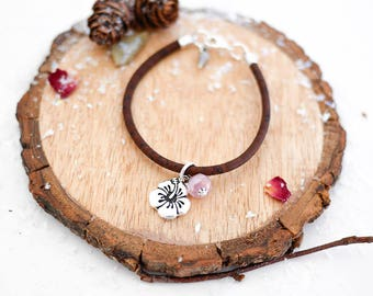 Hibiscus Vegan Bracelet • Silver charm jewellery, gift for her, hawaii, tropical, surf, beach, ocean, Valentines, jewelry, girlfriend, wife