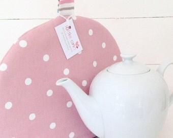 Tea Cosy, Pink Dotty Tea Cosy, Pink Tea Cosy, Dotty Tea Cosy, Time for Tea, Kitchen Accessory,