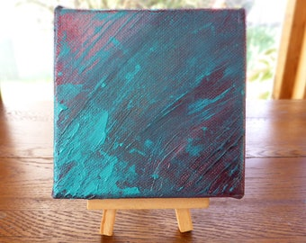 Turquoise abstract painting, 4x4 mini canvas, original art with optional display easel, turquoise decor, copper patina colours, desk art