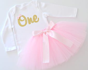 Pink and Gold 1st Birthday & Cake Smash Tutu Outfit | Baby Girl | Gold Glitter One Onesie Bodysuit and Pink Tutu |Winter Long Sleeve