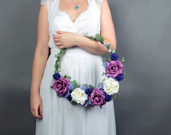 Bridesmaid floral hoop Purple boho greenery wreath bridal wedding bouquet alternative ultraviolet floral arrangement original bride