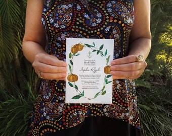 INVITATIONS BAPTISM, Baptism Invitation, Fall Pumpkin Baptism Invite Template, Invitaciones Bautizo, Little Pumpkin Invite, Lil Pumpkin, DIY