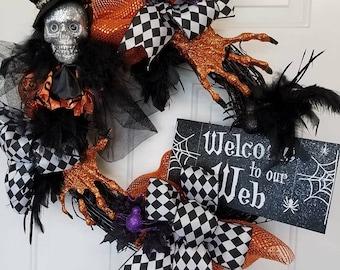 Halloween Wreath, Skeleton Wreath, Skull Wreath, Black and Orange Wreath, Feather Wreath, Welcome Wreath