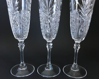 Chesnay by Cristal D'Arques-J G Durand set of 3 champagne flutes