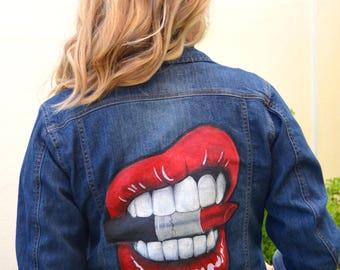 Lips biting Mac Lipstick Custom Denim Jacket Hand Painted Personalised