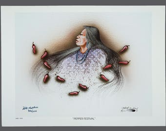 "1993 Robert Redbird ""Pepper Festival"" Native American Giclee Print Limited Edition 306/1000 Signed 15 x 11 Vintage Signed"