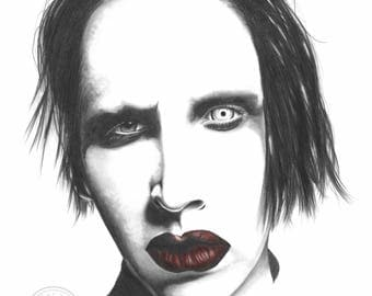 PRINT - 'Marilyn Manson', Limited Art Print Portrait. Printed on Acid Free, 'Canson' Watercolour Paper by Artist, Layce.