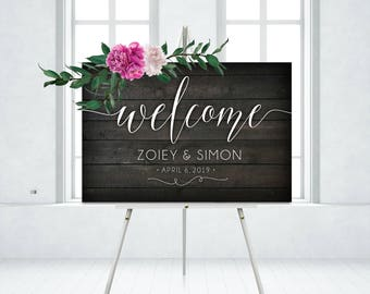 Wood Welcome Sign White Calligraphy DARK WALNUT Large Wood Plank Rose Eucalyptus Garland Wedding . PRINTED on Paper • Foam Board • or Canvas