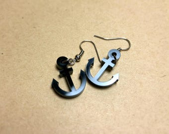 Black Acrylic Anchor Earrings, for small gifts