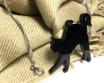 Black Acrylic Cat necklace, gift, cat lover