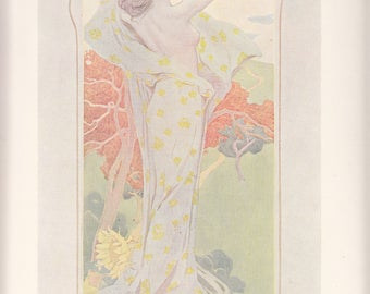 Antique French Art Nouveau Print Autumn Figure Allegorique Woman A/S Spillar Album De La Decoration
