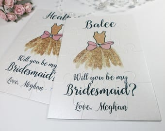 Will you be my Bridesmaid Invitation Bridesmaid Proposal Wedding Flower girl Gift Maid of Honor Puzzle card