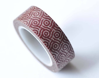 Red Pattern Washi Tape 15mm x 10M Roll  No.12746