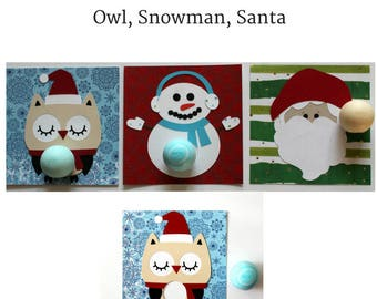 3 Pack Christmas EOS Lip Balm Holders • Teacher Gifts • Owl Christmas Card • Gifts for Her • Snowman Lover Gift • Christmas Gifts • EOS card