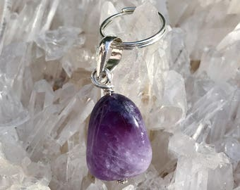 Amethyst Pet Gemstone Silver Pendant - Spiritual Connection
