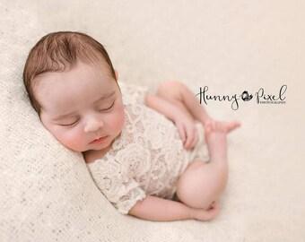 Newborn photo prop, photo session props, Newborn lace romper, Baby lace props, Newborn ivory romper, dainty romper, photo romper, Neutral