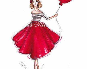 Fashion illustration, Valentines Day art, Valentines day gift, Valentines day print, Valentines gift, Fashion sketch, Girls wall decor