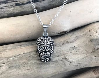 Sterling Silver Sugar Skull Pendant, Sugar Skull Jewelry, Sugar Skull Necklace, Mexican Calaveras Day Dead, Day of the Dead VAR058