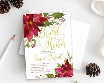 Holiday Bridal Shower Invitation, Christmas Bridal Shower Invite, Winter Poinsettias Burgundy, Crimson Florals - Holiday 36