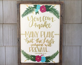 "Proverbs 19:21 - Framed Wood Sign - 19.5"" x 13.5"""