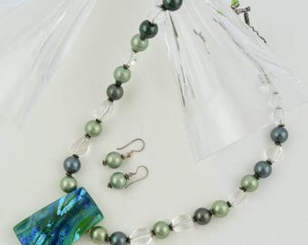 Green Dichroic glass necklace OOAK Semi Precious-Gemstone-Necklace & Earrings-Handmade-Beauje-Designer-Seashell pearls and crystal