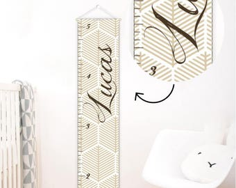Personalized Growth Chart Abstract nursery decor Neutral nursery